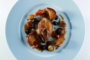 Roasted Young Partridge with Grapes and Chestnut Croutons