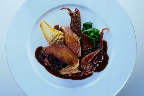 Roast Squab with Sour Cherry Marmalade and Pommes Gaufrettes