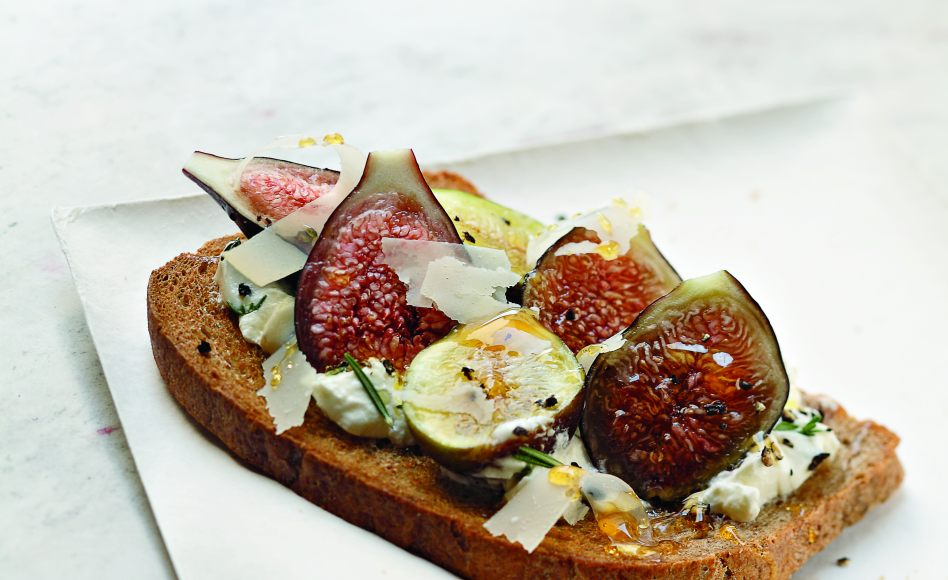 Sheep's Curd, Fig, and Honey Tartines