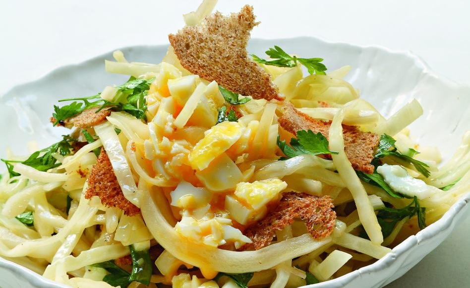 White Cabbage Salad with Soft-Boiled Egg