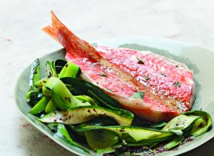 Fillets of red mullet, courgettes and tapenade