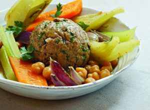 Lamb meatballs with couscous-style vegetables