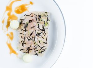 Recipe for cold starter with seabass and quinoa by Peter Goossens