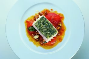 Garlic-Studded Hake with Fresh Herbs, Tomatoes and Chanterelles