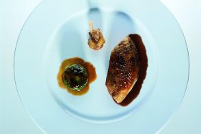 Pan-Roasted Pheasant Hen with Pheasant and Cabbage Chartreuses and Cognac Sauce