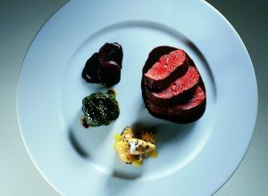 Saddle of Hare with Pumpkin-Black Truffle Gnocchi and Stuffed Cabbage