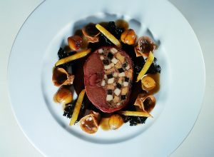 Stuffed Hare Royale with Chestnut Tortellini, Salsify and Trompette de la Mort Mushrooms