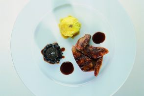 Wood Pigeon with Truffled Red Cabbage and Foie Gras Savoy Cabbage