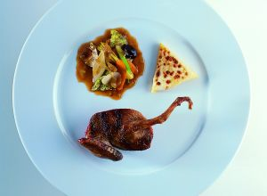 Wood Pigeon with Caramelized Vegetables and Muscadine Grape Sauce