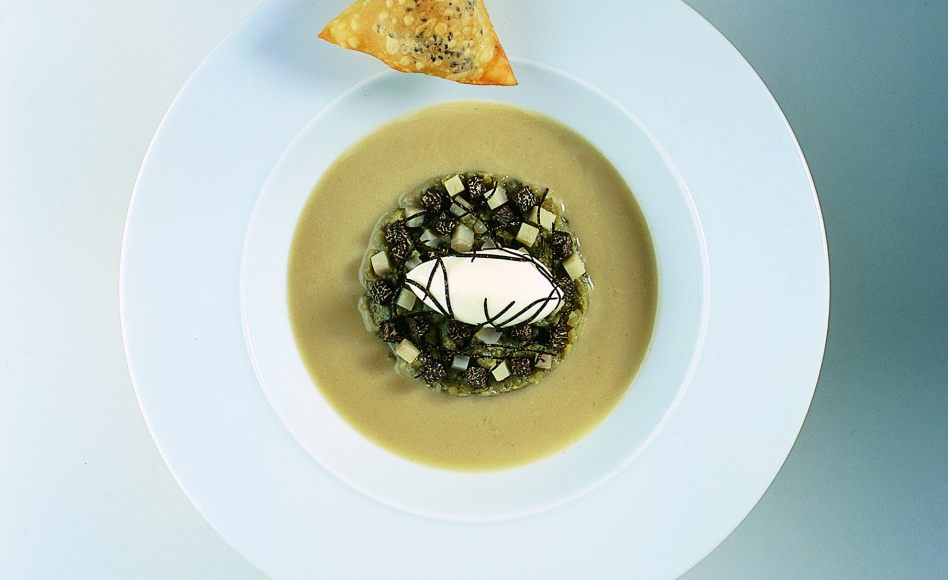 Artichoke and Porcini Mushroom Consommé with Foie Gras Rissoles and Truffle Matignon