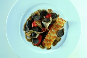 Sautéed Baby Artichokes with Potato Galette, Confit Tomatoes and Black Truffles