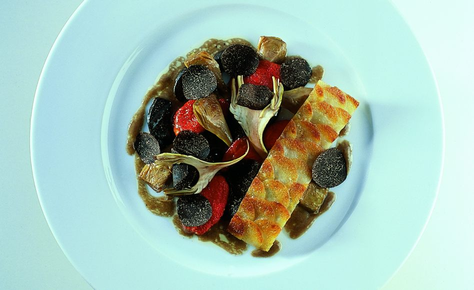 Sautéed Baby Artichokes with Potato Galette, Confit Tomatoes and ...