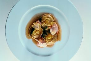 Artichoke Ravioli and Soft-Cooked Quail Eggs with Sage-Butter Sauce