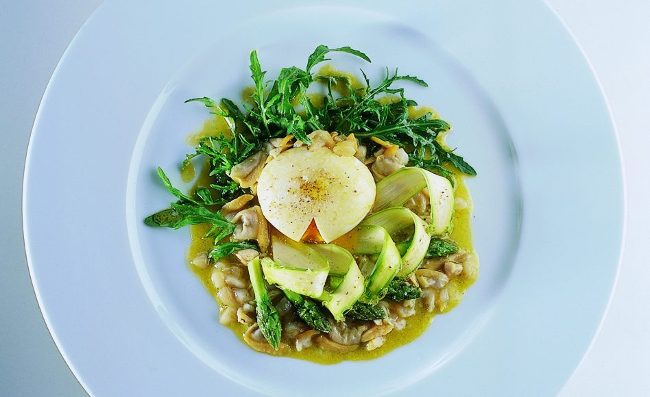 Asparagus with Soft Egg and Shellfish