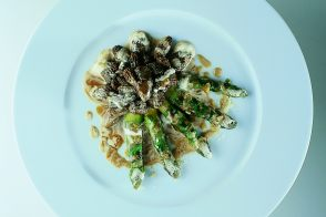 Roast Asparagus with Braised Morels in a Creamy Consommé