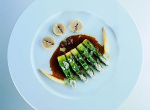 Roast Asparagus with Parmesan and Olive and Marrow Jus