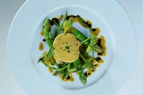 Asparagus with Ligurian Olive Oil, Aged Balsamic Vinegar, and Parmesan Lace