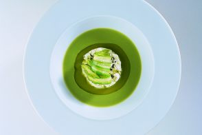 Cream of Asparagus Soup with Cuajada and Asparagus Salad