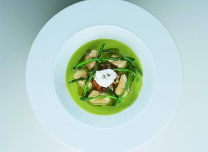 Fine Cream of Green and Wild Asparagus with Frog Legs