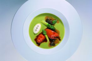 Fine Cream of Asparagus with Simmered Red-Clawed Crayfish
