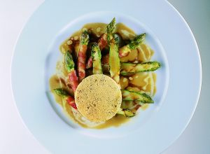 Asparagus with Bacon, Parmesan Lace, and Modena Vinaigrette