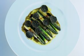 Baby Purple Asparagus with Leeks and Black Truffles