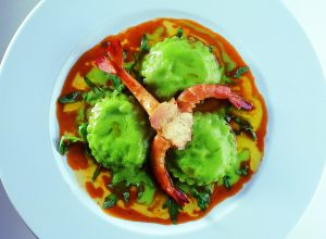 Mediterranean King Prawns with Broccoletti Raviolini in Prawn Sauce