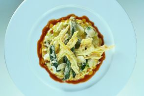 Risotto with Fried Zucchetta and Zucchini Blossoms