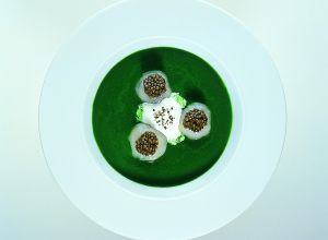 Velvety Cream of Watercress Soup with Scallops and Osetra Caviar