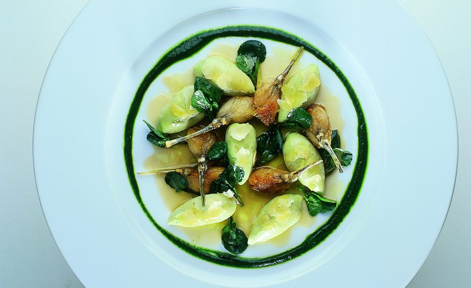 Tender Green Watercress Gnocchi with Frog Legs à la Meunière