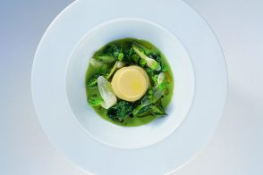 Baby Broad Bean and Radish Green Soup with Truffled Royale