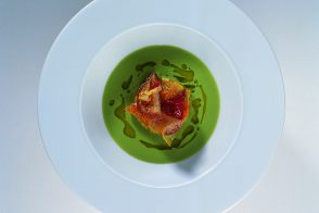 Smooth Broad Bean and Radish Top Soup with Vegetable Matignon