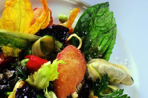 Fried Provençal Vegetables and Herbs with Tomato and Mesclun