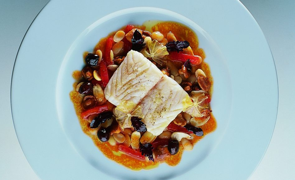 Griddled mediterranean sea bass with white pigna beans for Turkish sea bass recipe