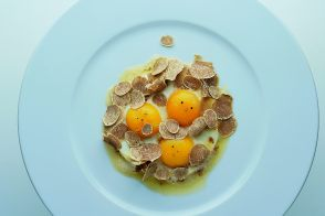 Truffled Sunny-Side Eggs in Parmesan Brown Butter with White Truffles