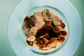 Shaved White Truffles with Bacon and Chestnut Pappardelle