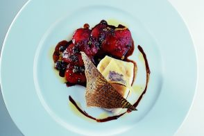 Grilled Mediterranean Sea Bass with Olive Fritters and Tomato Marmalade