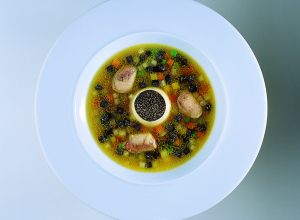 Truffled Provençal Vegetable Soup with Light Royale and Sot-L'y-Laisse