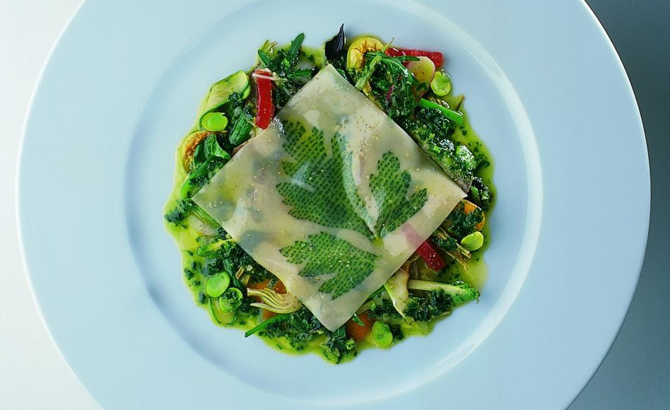 Fresh Parsley Pasta with Sautéed Vegetables and Fava Bean Pesto
