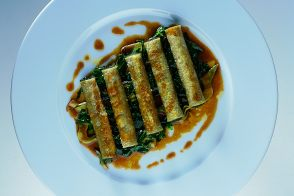 Green Cannelloni with Sautéed Baby Artichokes