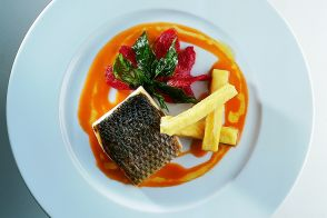 Crispy Sea Bass in Ratatouille Sauce with Panisses and Fried Basil