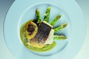 Crispy Breaded Sea Bass with Olive-Potato Fritter and Asparagus Sauce