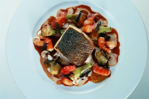Mediterranean Sea Bass with Red Clawed Crayfish and Purple Artichokes