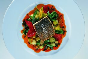 Baked Mediterranean Sea Bass with Stewed Eggplant and Zucchini