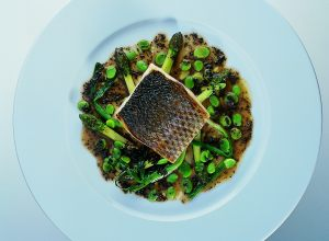 Sea Bass with Asparagus, Scallions and Black Truffles