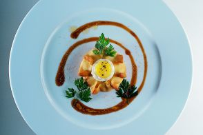 Bilbao Cod Brandade Tortes with Soft-Cooked Quail Eggs