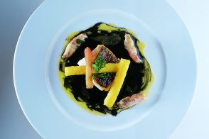 Basque-Style Salt Cod and Kokotxas with Fried Polenta and Ink Sauce