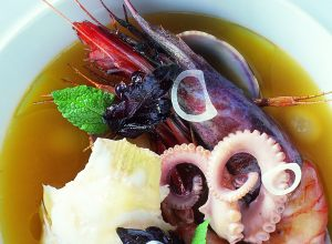 Rockfish Consommé with King Prawns, Carpetshell Clams and Lobster
