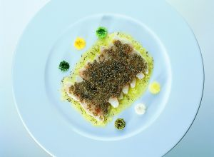 Sea Bass Crudo in Lemon and Oestra Caviar Marinade