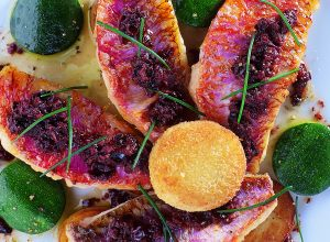Red Mullet Fillets with Sautéed New Potatoes, Zucchini and Tapenade